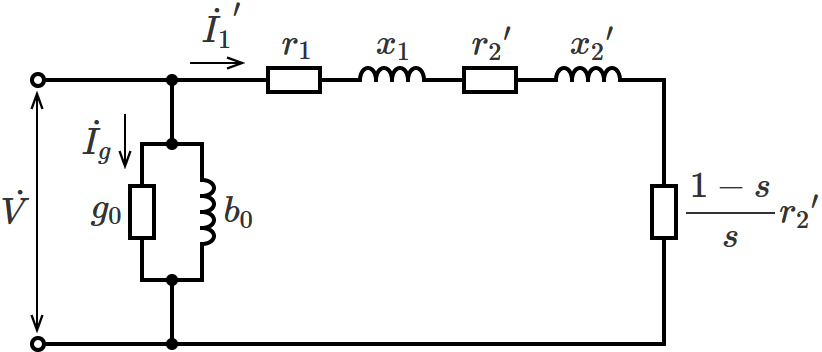誘導電動機のL形等価回路